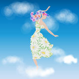 Girl in flowers dancing in the clouds vector Stock Photo
