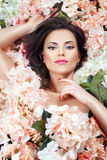 Girl in flowers gentle. Royalty Free Stock Photos