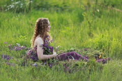 Girl and flowers royalty free stock photo