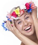 Girl with flowers in hair royalty free stock image