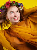 Girl with flowers in her hair Royalty Free Stock Photos