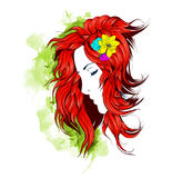 Girl with flowers in her hair Stock Images