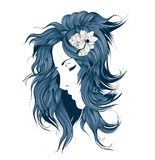 Girl with flowers in her hair Royalty Free Stock Photography