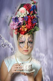 Girl with flowers on her head Royalty Free Stock Photo