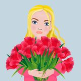 Girl with a bouquet of gorgeous red tulips. Cartoon style royalty free illustration