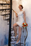 Girl with flowers in an iinteryer on a spiral staircase Royalty Free Stock Image