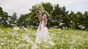 Girl Flowers Outdoor Blossom Daisy Meadow Scenery stock video footage