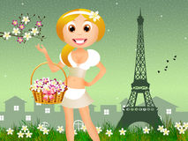 Girl with flowers in Paris Royalty Free Stock Images