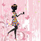 Girl flowers pattern Royalty Free Stock Images