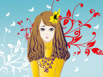 Girl flowers pattern Royalty Free Stock Photo