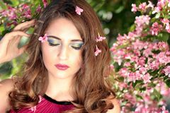 Girl, Flowers, Pink, Beauty, Spring Royalty Free Stock Photo