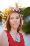 Girl with flowers3 Stock Images