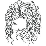 Girl with flowing curly hair. Sketching vector illustration vector illustration