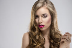 Girl with flowing hair portrait and sensual Royalty Free Stock Photography