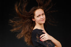 Girl with flowing long hair Royalty Free Stock Image