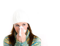Girl with flu. Pretty girl with flu isolated on white Royalty Free Stock Image