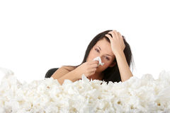 Girl with flue Stock Photography