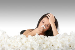 Girl with flue Stock Images