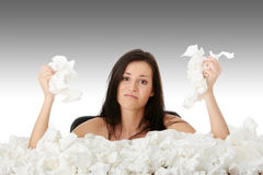 Girl with flue Stock Photo