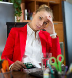 Girl with flue and pills at office Stock Photos