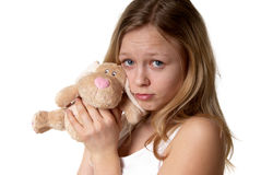 Girl and a fluffy bunny Royalty Free Stock Image