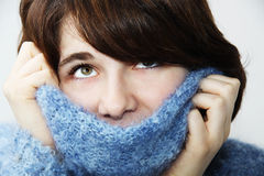 The girl in a fluffy sweater 2 Royalty Free Stock Images
