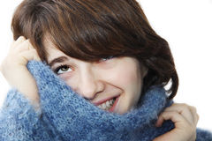 The girl in a fluffy sweater 3 Stock Image