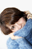 The girl in a fluffy sweater 4 Stock Photography