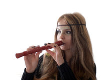 Girl with a flute Stock Photos