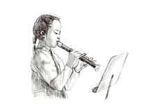 Girl with flute Stock Photos