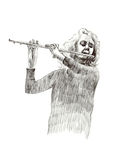Girl with flute Royalty Free Stock Photos