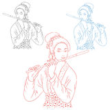 Girl with flute of japan, silhouette on white background. Royalty Free Stock Photos
