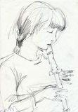 Girl with flute, portrait. Hand drawing picture, pencil, girl with flute Stock Images