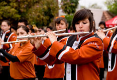 Girl flutists in Youth parade Royalty Free Stock Photography