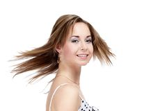 Girl with fluttering hair Royalty Free Stock Images