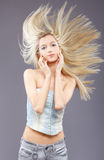 Girl with fluttering hair Royalty Free Stock Photos