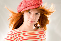 Girl with fluttering hair Stock Images