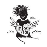 Girl Fly High in Sky with Heart Wings Cartoon Stock Photo