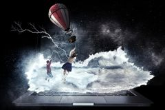 Girl fly in sky. Mixed media stock images
