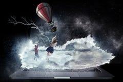 Girl fly in sky. Mixed media stock photos