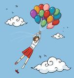 Girl flying with balloons Royalty Free Stock Images