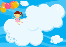 Girl flying with balloons among clouds. Illustration about a cute little happy girl flying with coloured balloons  up in the blue sky among big clouds to fill Royalty Free Stock Images