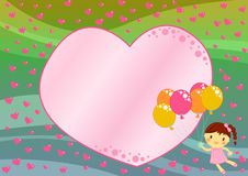Girl flying with balloons among hearts. Illustration about a cute little happy girl flying with coloured balloons  up in the blue sky among small and big hearts Stock Photos