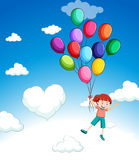 Girl flying with balloons in the sky. Illustration Stock Image