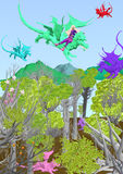 Girl flying a dragon over a fantasy forest. A girl rides a dragon flying over a fantasy forest filled with other dragons, 3D illustration, raster illustration Stock Photos