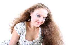 Girl with flying hair Royalty Free Stock Photos
