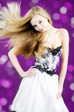 The girl with flying hair Stock Images