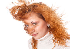 Girl with flying hair Stock Images