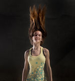 Girl with flying hair Stock Image