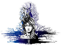 Girl with flying hair. Symbolizes the planet mercury Stock Photography